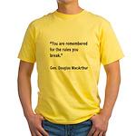 MacArthur Break Rules Quote Yellow T-Shirt