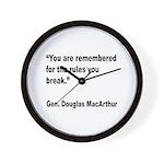 MacArthur Break Rules Quote Wall Clock
