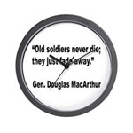 MacArthur Old Soldiers Quote Wall Clock