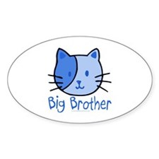 Cat Blue Big Brother Oval Decal