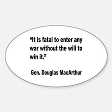 MacArthur Will to Win Quote Oval Decal