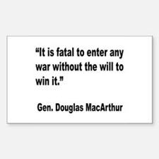 MacArthur Will to Win Quote Rectangle Decal