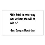 MacArthur Will to Win Quote Rectangle Sticker 10
