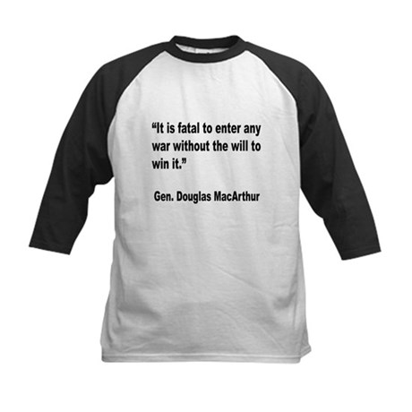 MacArthur Will to Win Quote Kids Baseball Jersey