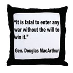 MacArthur Will to Win Quote Throw Pillow