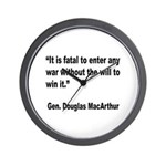 MacArthur Will to Win Quote Wall Clock
