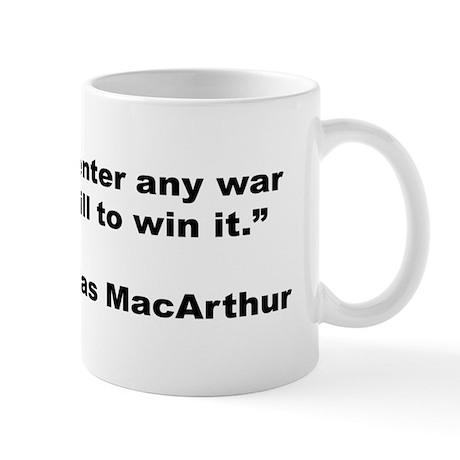 MacArthur Will to Win Quote Mug