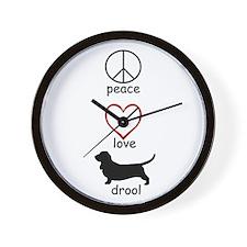 Peace, Love, Drool Wall Clock