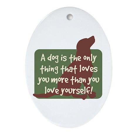 Chocolate Lab Love - Oval Ornament