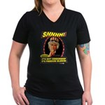 Freedom Silence Women's V-Neck Dark T-Shirt