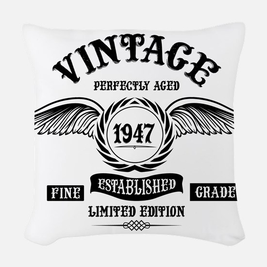 Vintage Perfectly Aged 1947 Woven Throw Pillow