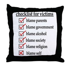 Checklist For Victims Throw Pillow