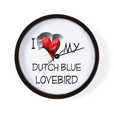 I Love My Dutch Blue Lovebird Wall Clock