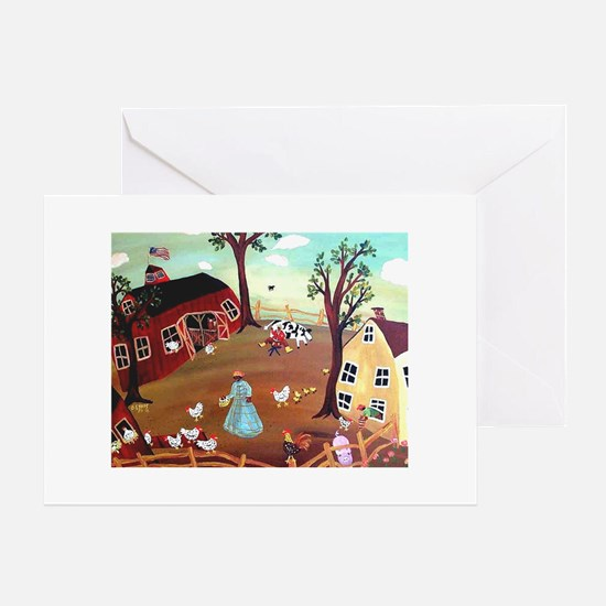 BARNYARD MORNING Greeting Card