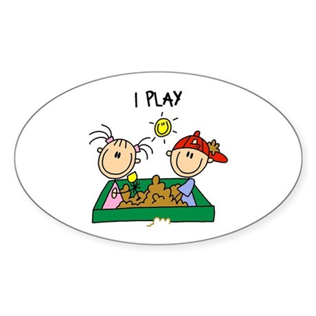 I Play Oval Sticker