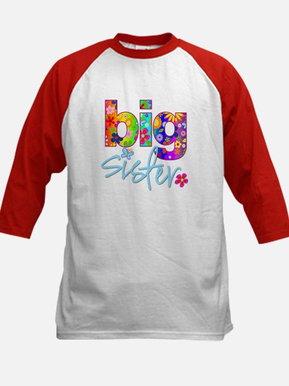 big sister t-shirt flower Kids Baseball Jersey