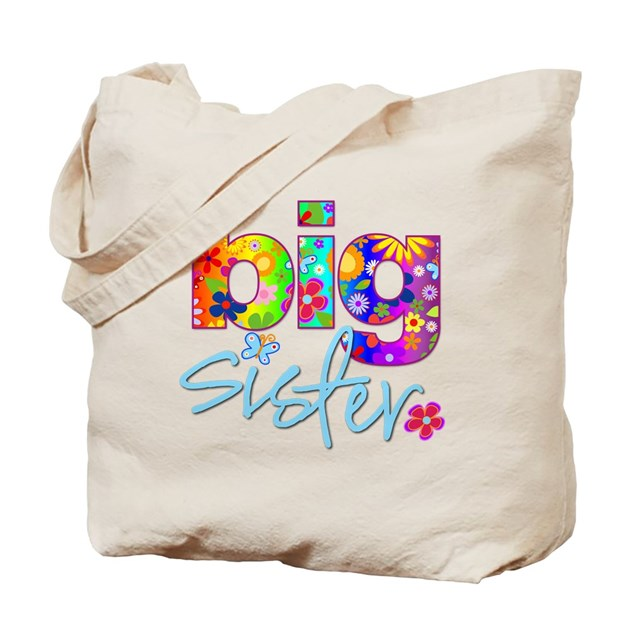 Big sister t shirt flower tote bag by zoeysattic for T shirt tote bag