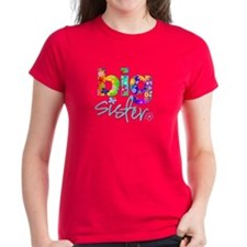 ADULT SIZES big sister bright flower Tee