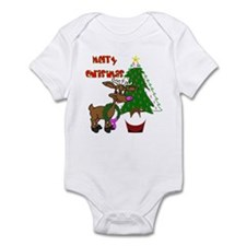 Pink Ribbon Christmas Infant Bodysuit