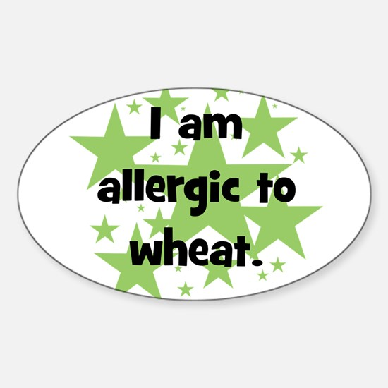 Allergic to Wheat - stars Oval Decal