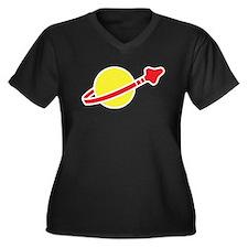 Space Logo Women's Plus Size V-Neck Dark T-Shirt