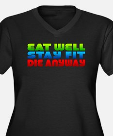 Eat Well Stay Fit Women's Plus Size V-Neck Dark T-