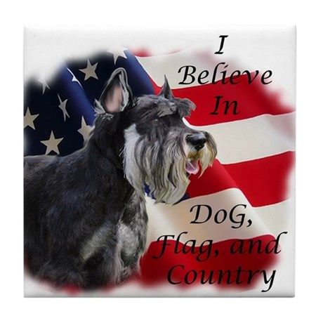 Dog, Flag, and Country Tile Coaster