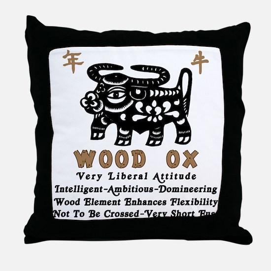 Wood Ox Throw Pillow