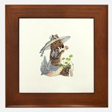 Playful Zebra Framed Tile