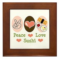 Peace Love Sushi Framed Tile