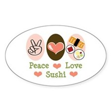 Peace Love Sushi Oval Decal