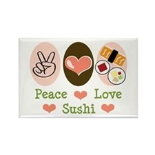 Peace Love Sushi Rectangle Magnet