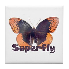 Vintage Distressed Superfly B Tile Coaster