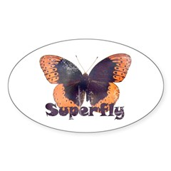 Vintage Distressed Superfly B Oval Sticker (10 pk)