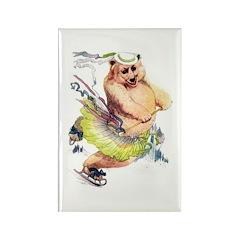 Skating Bear Rectangle Magnet (100 pack)
