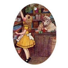 ALICE IN THE SHEEP'S SHOP Oval Ornament
