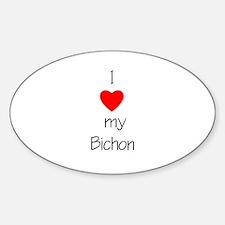 I Love My Bichon Oval Decal