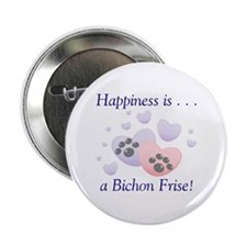 """Happiness is...a Bichon Frise 2.25"""" Button (100 pa"""
