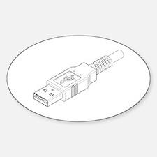 USB Plug Oval Decal