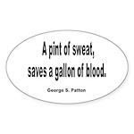 Patton Sweat & Blood Quote Sticker (Oval 10 pk