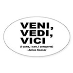 Veni Vedi Vici Caesar Quote Oval Sticker (10 pk)