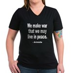 Make War to Live in Peace Quo Women's V-Neck Dark