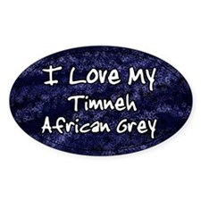 Funky Blue Timneh African Grey Oval Decal