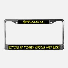 HI Biting Timneh African Grey License Plate Frame