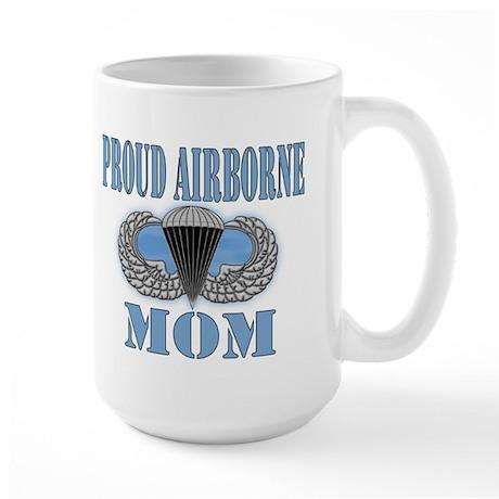 Proud Airborne Mom Clouds Large Mug