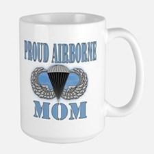 Proud Airborne Mom Clouds Large Mug