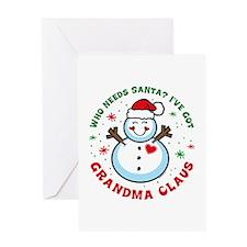 Snowman Grandma Claus Greeting Card