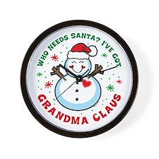 Snowman Grandma Claus Wall Clock