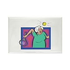 Seniors Tennis Player Rectangle Magnet