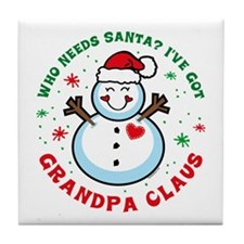 Snowman Grandpa Claus Tile Coaster